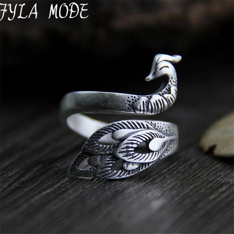 Prata 925 jóias thai prata estilo vintage pavão anel para mulher ajustável antigo prata esterlina jóias festa