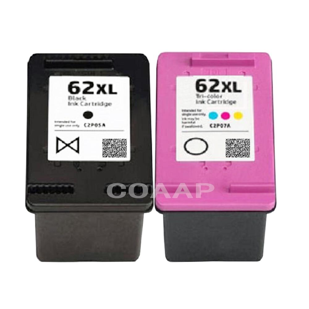 2 cartuchos de tinta recargables 62XL para impresora todo-en-uno Compatible hp ENVY 5540 5541 5542 5543 5544 5545 5546 5547 5548