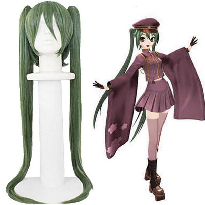 Coletas de doble Clip + gorro de pelo + Vocaloid Hatsune Miku verde militar largo recto Peluca de Cosplay sintético Natural + gorro de peluca