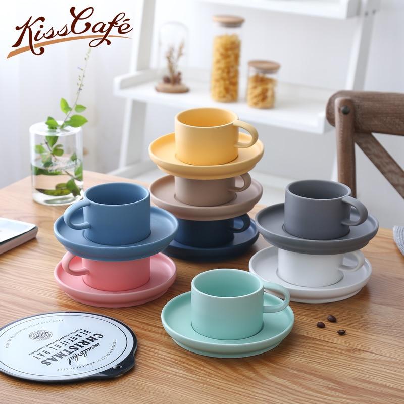 200mL Ceramic Drinkware Coffee Cups and Mugs Porcelain Saucer Sets Coffee Mug Office Cups Breakfast Milk Cup