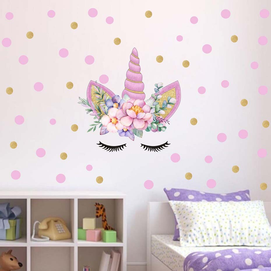 Cartoon Cute Unicorns Pink Gold Dot Wall Stickers Wallpaper DIY Vinyl Home Wall Decals Kids Living Room Bedroom Girls Room Decor