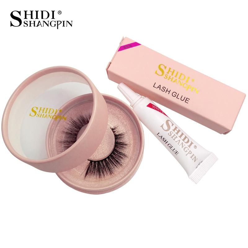 SHIDISHANGPIN 1 Pair Mink Eyelashes 3D Mink Lashes With Glue Handmade Full Strip Lashes Thick Long False Eyelashes 70-75P Kit