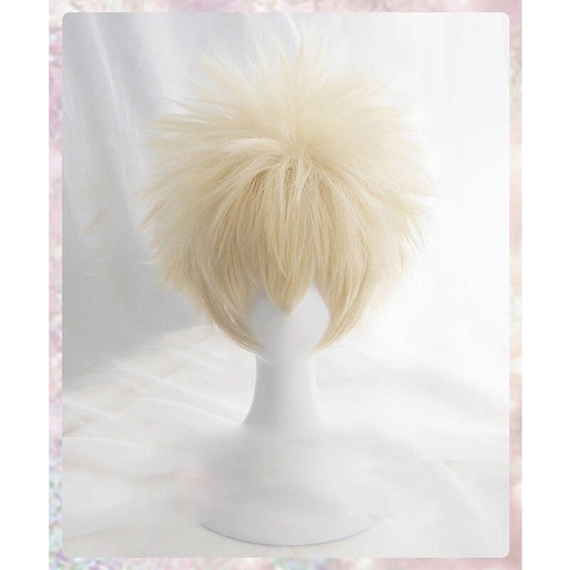 Костюм для косплея аниме «My Hero academation Bakugou Katsuki Bakugo», короткий льняной блонд, термостойкий, с париком + кепкой