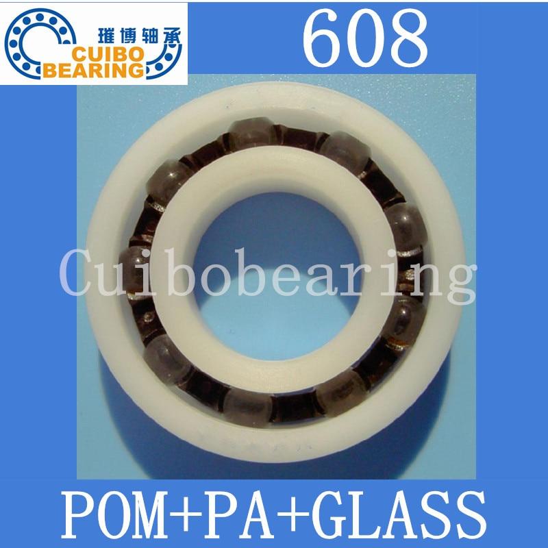10 قطعة 608 بوم البلاستيك محامل PA كرات من الزجاج الحجم: 8x22x7mm