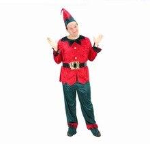 Fantasia noel hommes elfe Cosplay deguisement elfe homme déguisement elfe du père noel adulte ensemble velours rouge & vert pour homme tenue