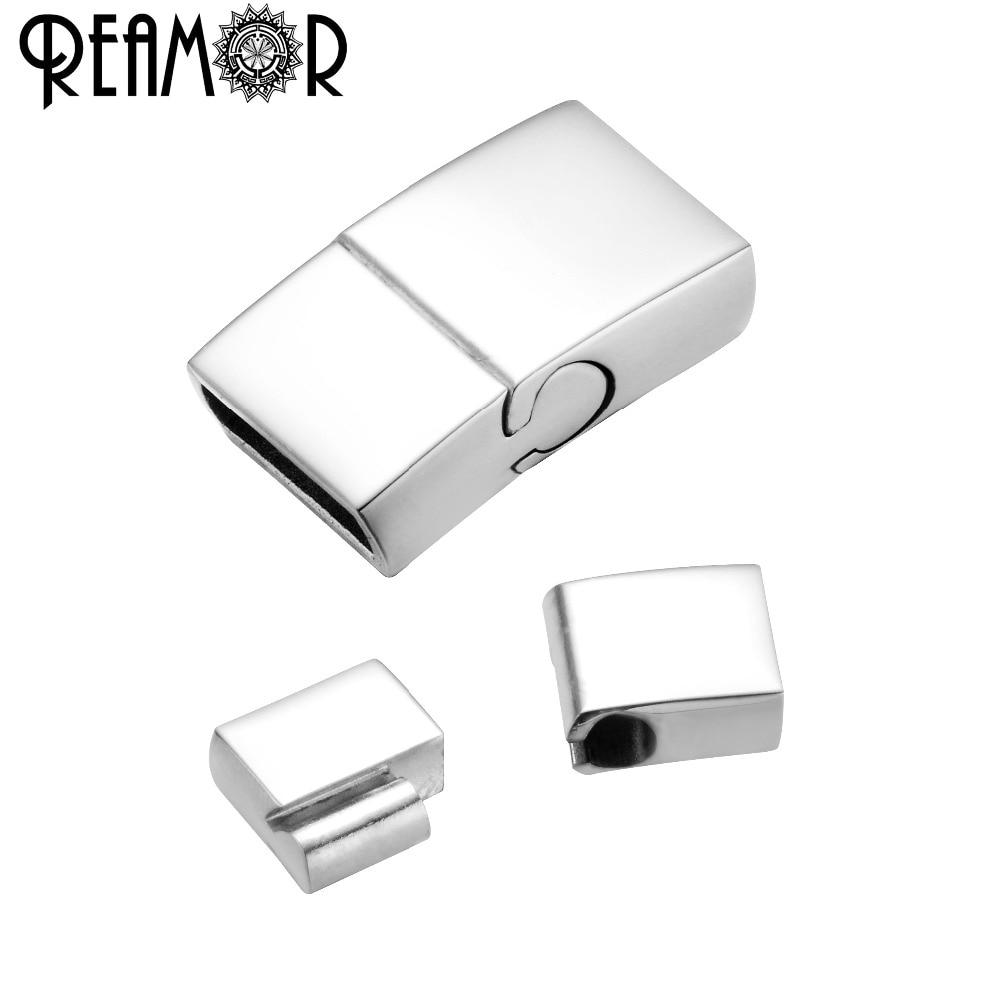 Reamor 10*3mm fecho magnético de aço inoxidável oblate fivela gancho para conectores pulseira de cabo de couro diy jóias fazendo descobertas