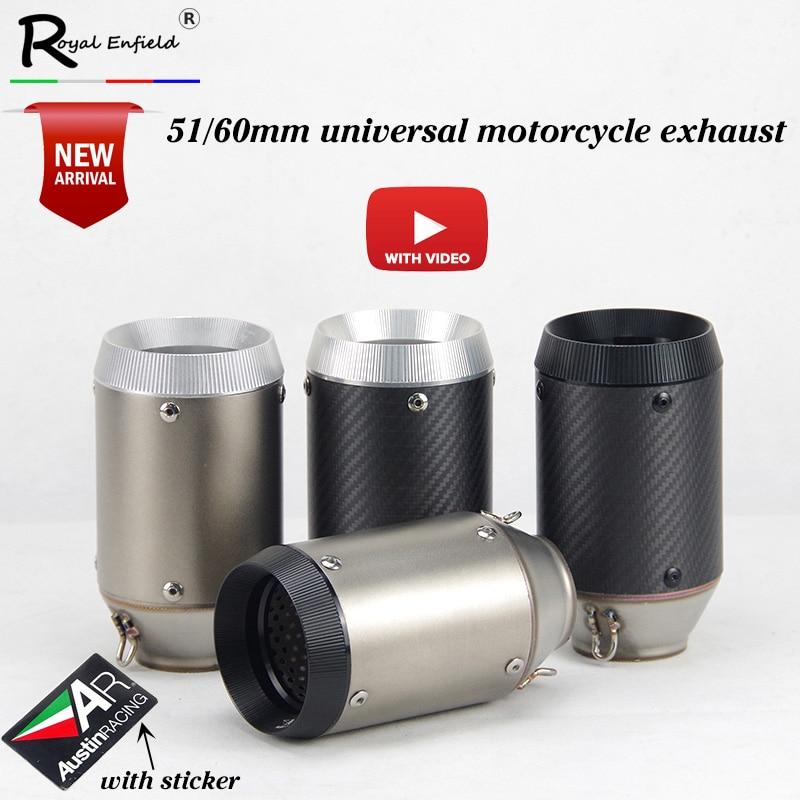Tubo de Escape Universal de motocicleta de carrera de 51mm para GSXR600 Z1000 ER6N K7, sistema de Escape de Moto GP de fibra de carbono con DB killer