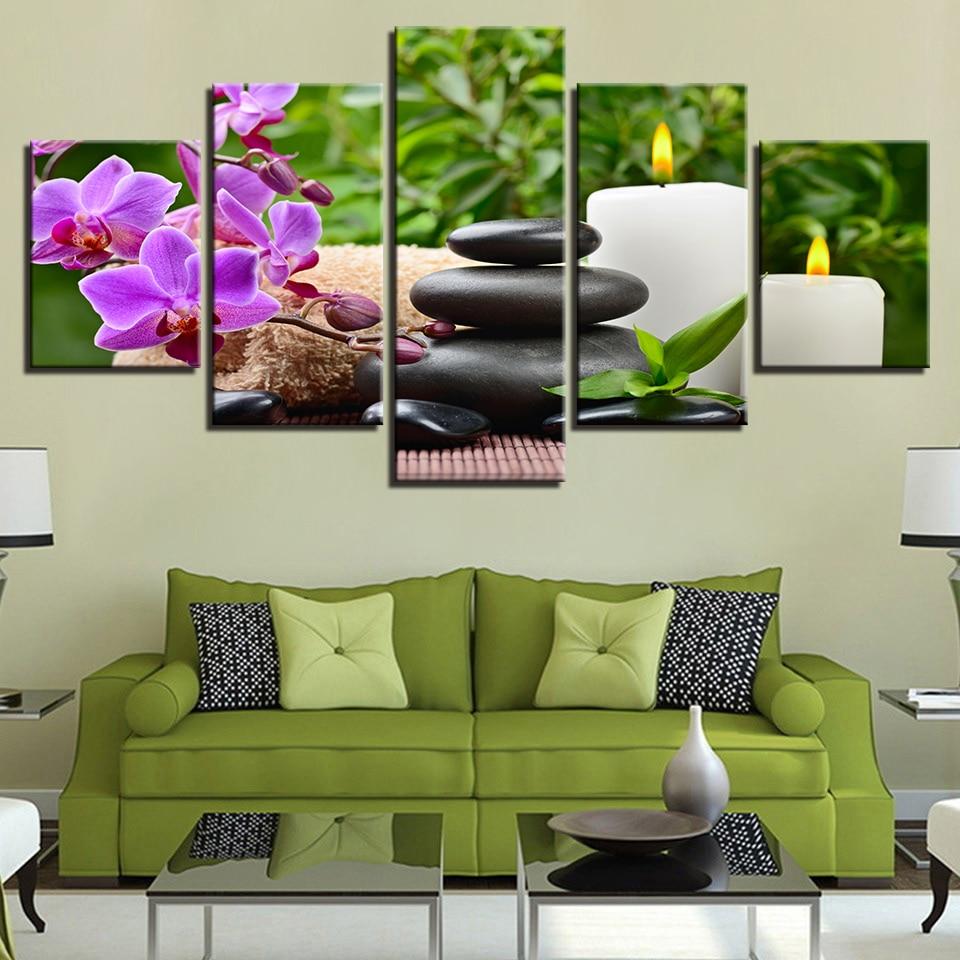 Lienzo impresiones de alta definición Poster decoración del hogar 5 piezas mariposa orquídea guijarros pinturas de velas piedras flor Imagen Arte de pared de salón