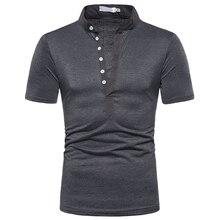 T-Shirt homme décontracté à manches courtes col montant travail T-Shirt Social pour hommes T-Shirt Streetwear hommes vêtements respirant chemise dentraînement