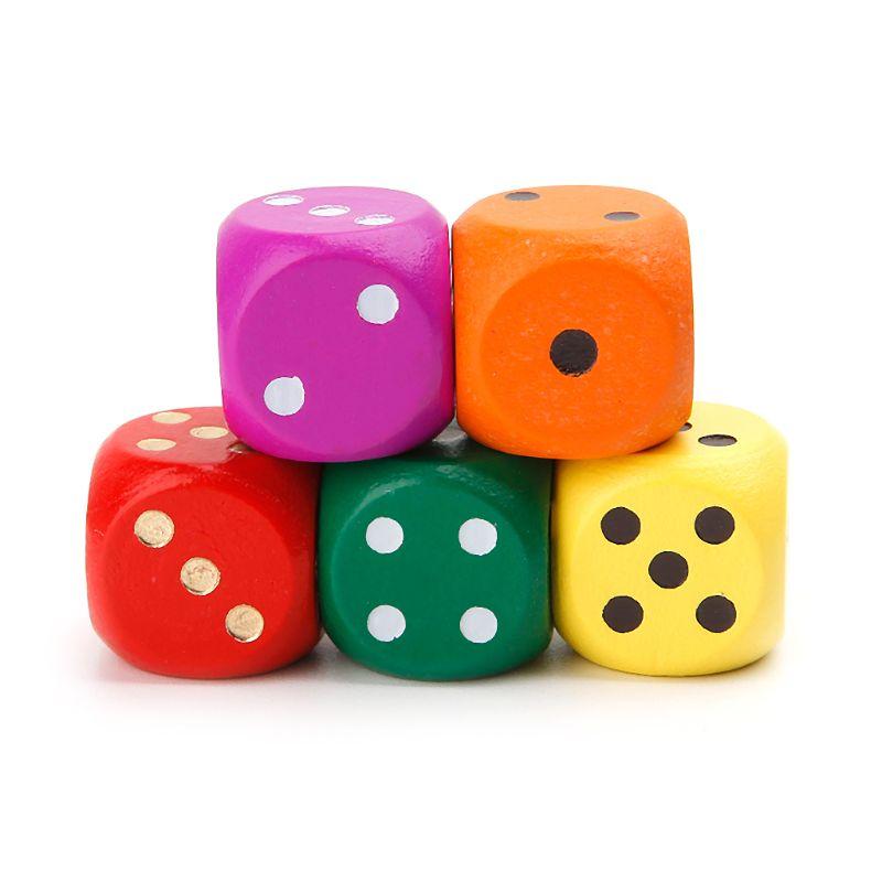 5 uds. Dados de madera hexaedro de esquina redonda de número 16mm para fiesta familiar juguetes DND chico