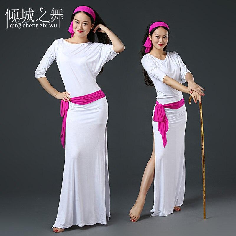 Женское платье для танца живота ZM168 + повязка на голову + поясная цепочка + защитные брюки