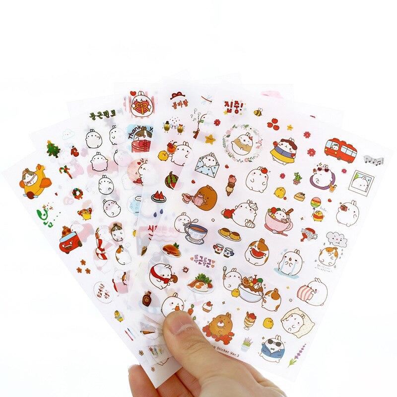 6 arkuszy Cute Rabbit śmieszne naklejki dla dzieci Notebook naklejka na laptopa małe zwierzę etykiety na telefon bagaż Skateboard dziennik naklejki