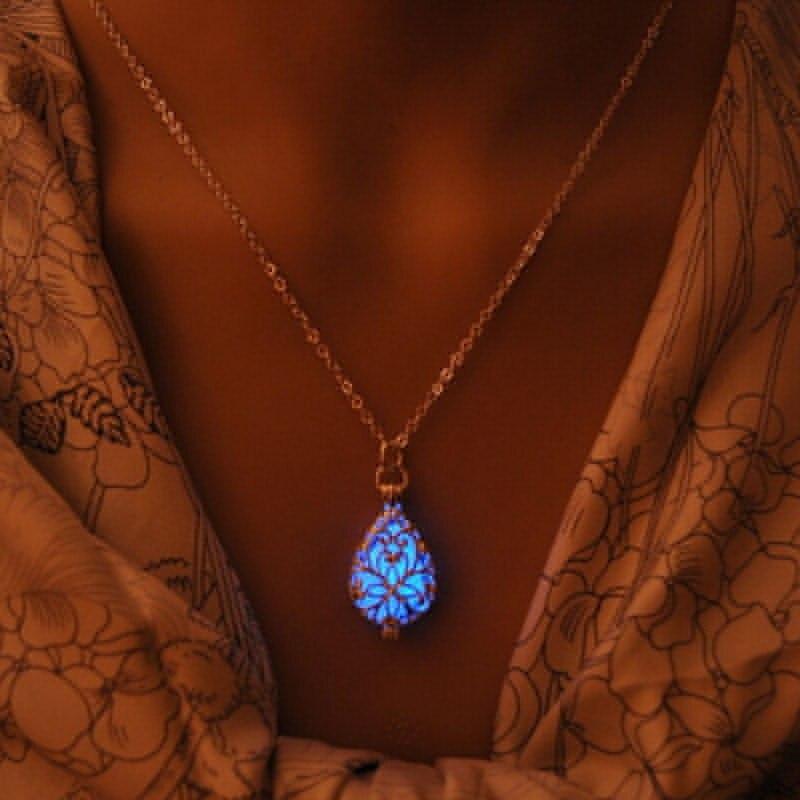Glow In The Dark Locket  Filled Hollow Flower Glowing Gem Stone Luminous Choker Pendant Necklaces For Women Jewelry