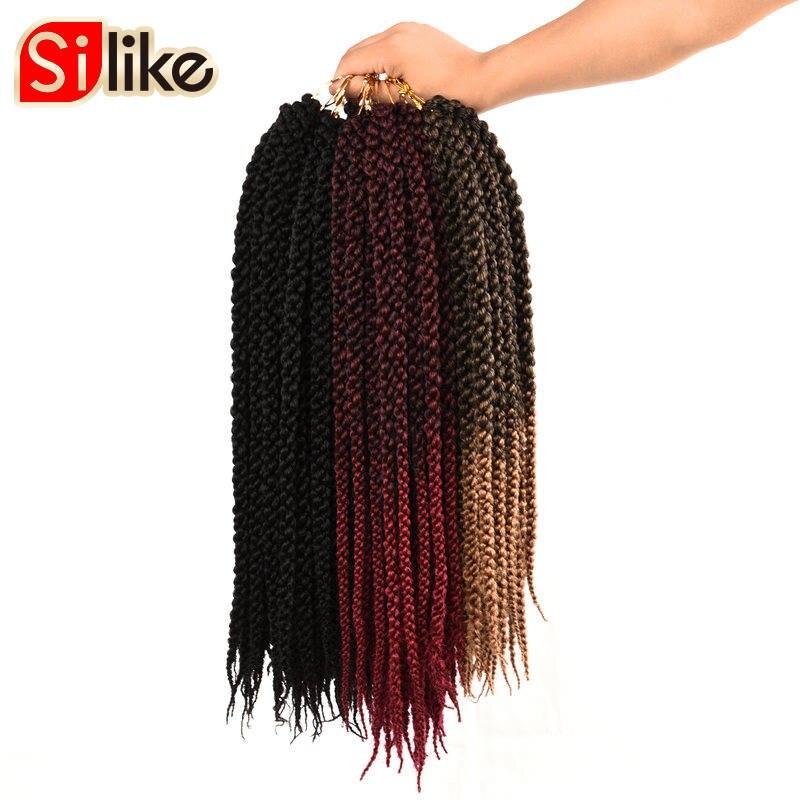 Extensão de cabelo cúbico 3d 18 22 polegadas, cabelo de crochê, 12 fios/pacote, ombre, tranças sintéticas, extensão de cabelo para africano preto mulheres