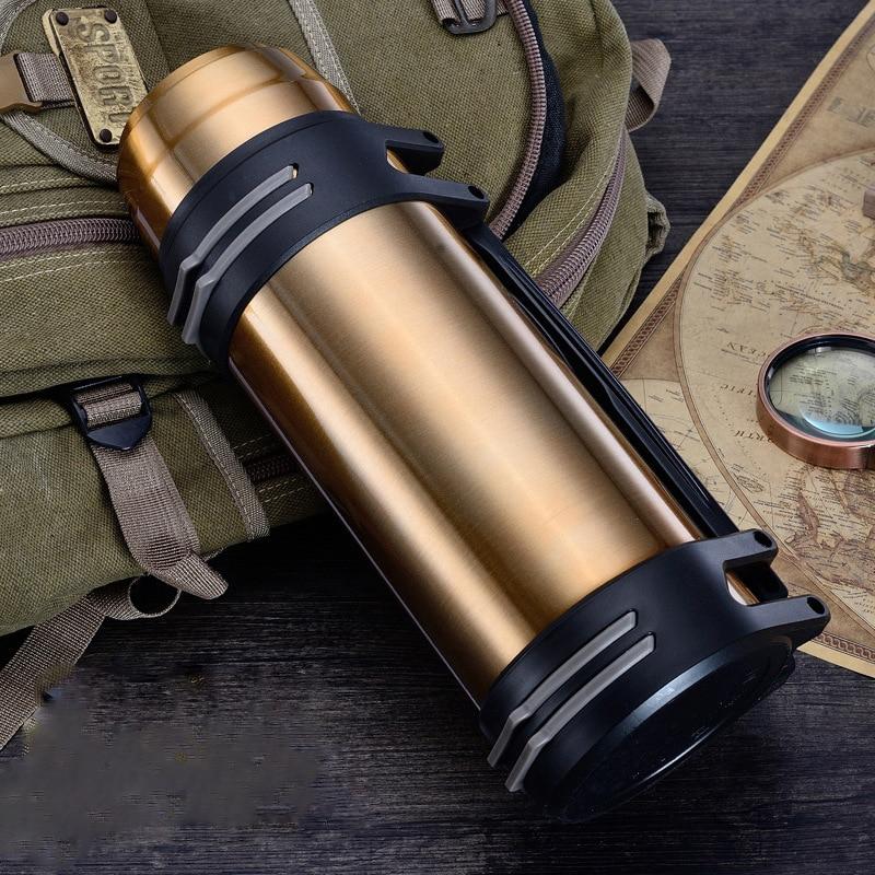 زجاجة تُرمُس الفولاذ المقاوم للصدأ معزول زجاجة تُرمُس 1L/2L/3L أكواب قهوة للسفر الحرارية فراغ زجاجة ماء كوب حراري