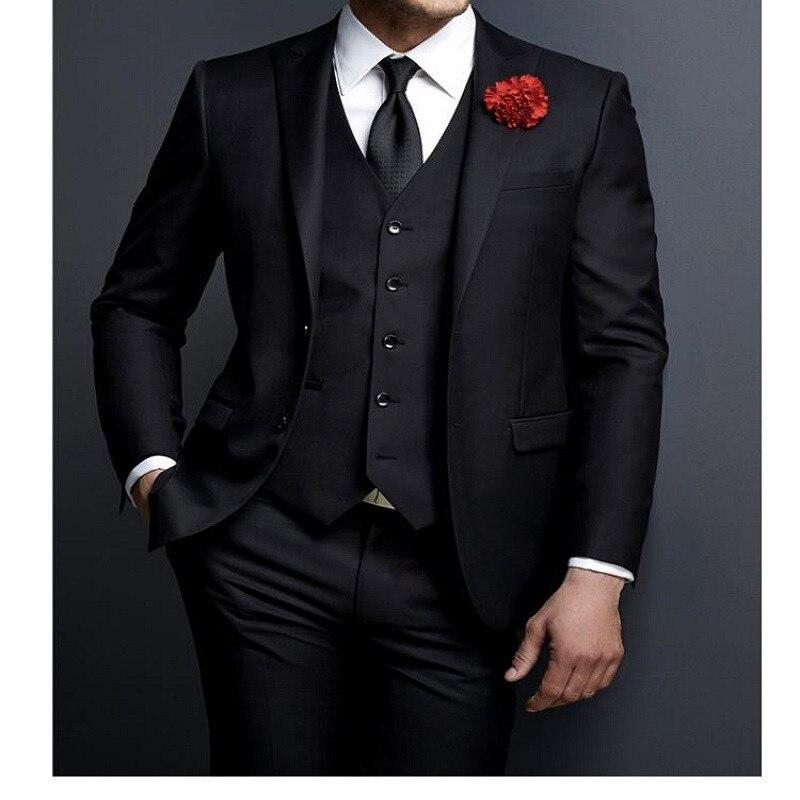 Novio esmoquin negro padrino pico solapa personalizado boda cena trajes traje homme hombre novio (chaqueta + Pantalones + corbata + chaleco)