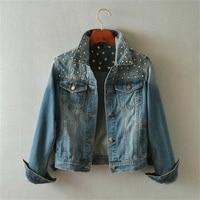 Весенняя женская джинсовая куртка с заклепками в стиле «панк» в винтажном стиле; Топ с коротким джинсовое пальто с длинными рукавами и джин...