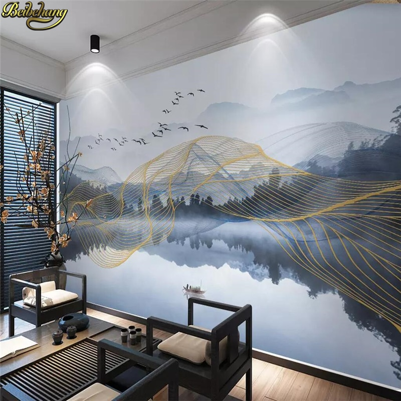 Beibehang personalizado abstracto líneas doradas artístico 3D Mural papel pintado rollo paisaje agua reflejo Pared de fotos Pape TV fondo