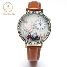 3d argile rétro voiture à fleurs Rose Design Vintage strass montres Miss Keke Relogio Feminino dames femmes en cuir montre-bracelet 1814