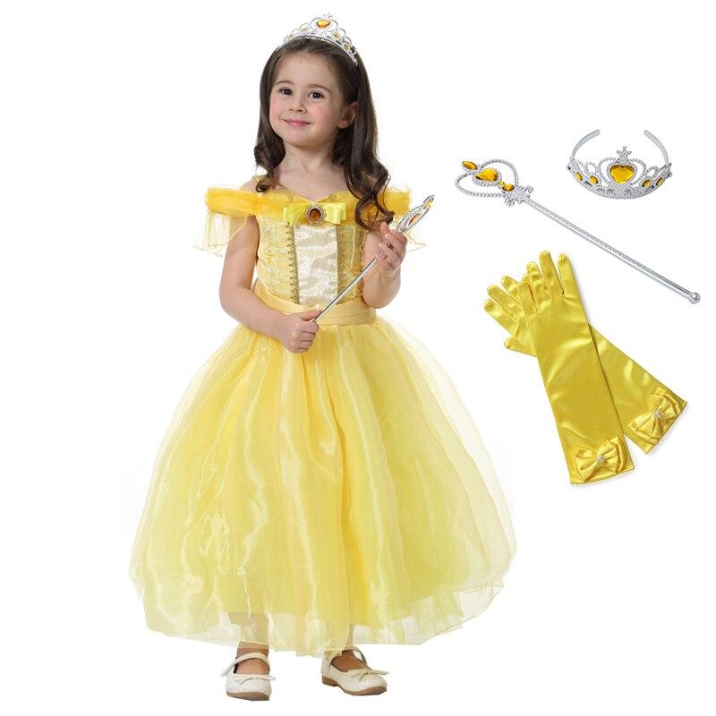 Vestido de princesa Bella Cosplay para niña La Bella y La Bestia, disfraz para niños para fiesta Halloween cumpleaños Drama disfraz para fotografía