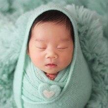 Manta de punto elástica verde Auqa, suéter para recién nacido, envolturas, tela para posar, saco para bebé, accesorios para fotos de recién nacidos