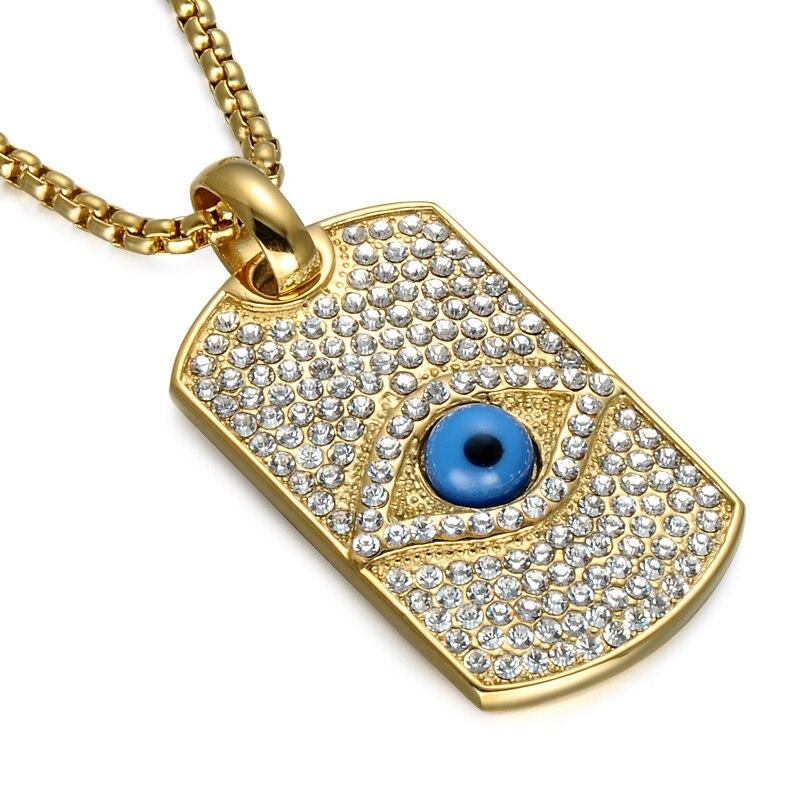 Hip Hop Full Micro Pave Illuminati pirámide ojo colgante collar oro perro etiqueta Faraón el Ojo de Horus collar hombres joyería