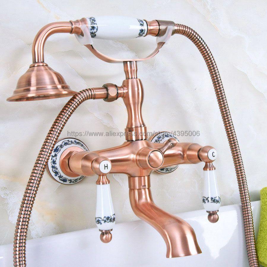 حنفية حوض استحمام نحاسية حمراء على طراز الهاتف ، مثبتة على الحائط بمقبضين ، دش يدوي ساخن وبارد Bna330