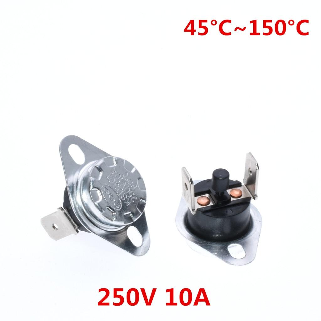 20 sztuk KSD301/KSD303 reset ręczny przełącznik regulacji temperatury termostat 45 50 55 60 65 70 75 80 85 ~ 150 grees NC 250 V 10A