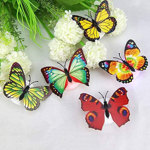 ¡12 paquetes calientes! Decoración de pared de escritorio para habitación de hogar con luz LED de mariposa linda que cambia de Color