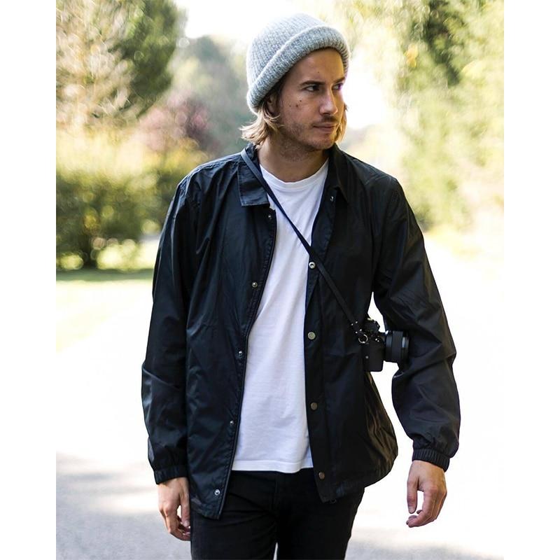 Nylon hip hop streetwear plain black coach jacket vintage waterproof lightweight windbreaker for men