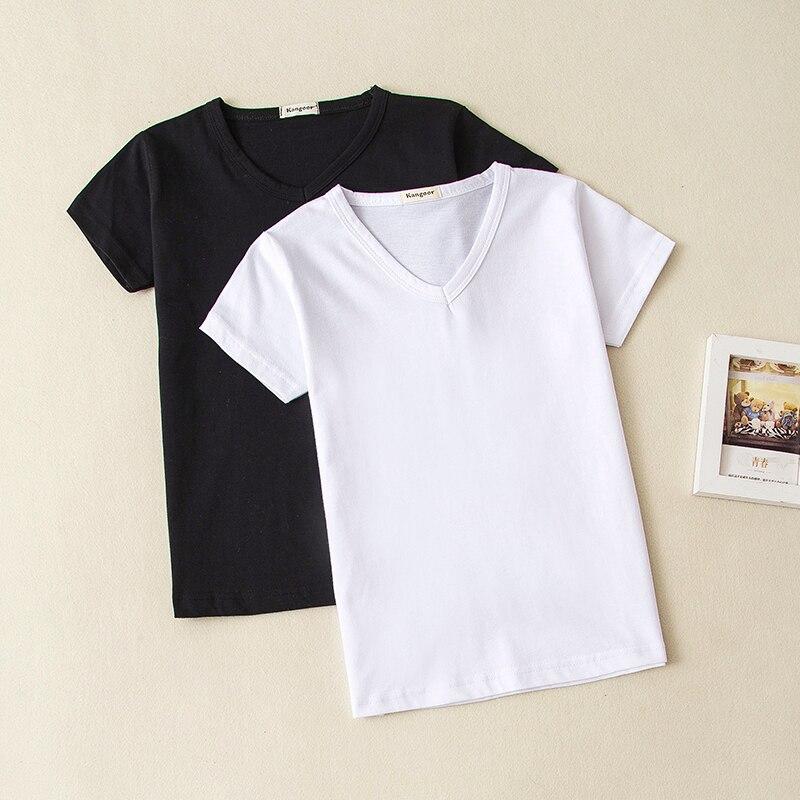 2018 sommer Baby Kleidung Baby Mädchen Jungen Baumwolle T Shirt V-ausschnitt Kurzarm Top Tees Für Kinder Leere Shirt schwarz Weiß 0-10 jahre