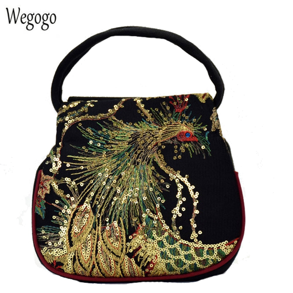 Las nuevas mujeres bolsas bordado bolso Pavo Real bordado bolsas de cremallera doble viaje Negro Bolsa de playa Mujer pequeño monedas del teléfono bolsa