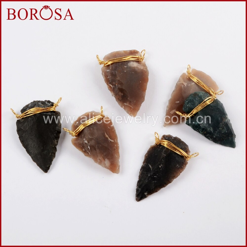 BOROSA 10/20 piezas envoltura de cable de oro Natural jaspes punta de flecha conector Piedra Natural joyería collares colgantes para hacer G1645