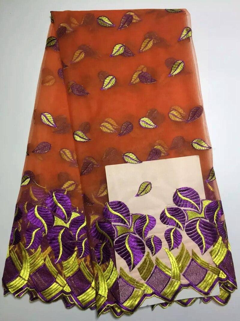 Tela de encaje francés de alta calidad tul africano encaje de malla guipur naranja con bordado 2016 Popular confección de ropa de boda