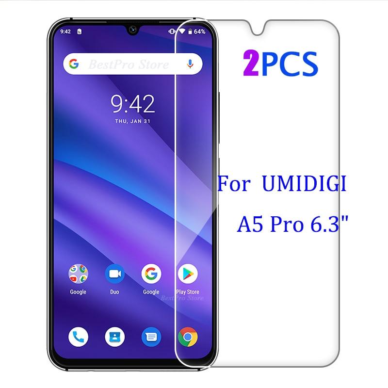 "2-1 Uds Termpered de vidrio para UMIDIGI A5 Pro funda protectora de pantalla a prueba de explosión móvil A5 funda de film para UMIDIGI A5 Pro 6,3"""