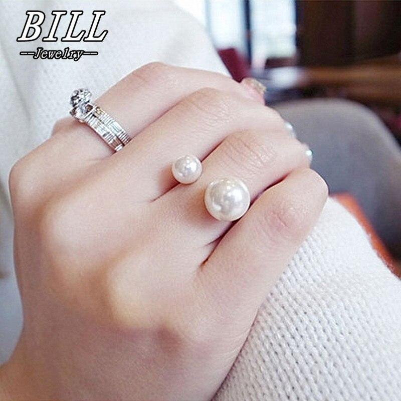 R293 anillos de mujer perlas simuladas 18KGP ajustable joyería con anillos de moda anillo de dedo de compromiso de boda Anel 2017