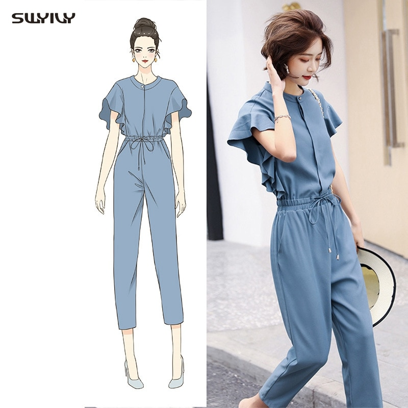 Lotus Sleeve Jumpsuit Women 2019 Spring And Summer New European Style One Piece Pants  Female Elegant High Waist Trousers