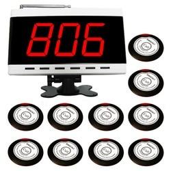 Singcall sistema de paginação sem fio, 10 único botão magro mesa sinos ape700rw e 1pc branco display receptor ape9500