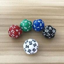 1 pièces/lot D30 trente-surface 25mm numérique dés qualité couleur acrylique coins arrondis originalité jeu de dés