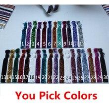 30 colors Available Glitter elastic Hair ties Ponytail Hair band Wrist strap Sparkling Hair rope Hair Elastic bands FOE Headband