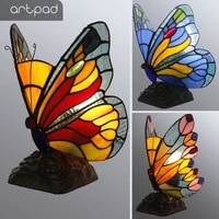 artpad stained glass tiffany butterfly lamps with useu plug in e27 bedroom bedside led butterfly light for table night fixtures