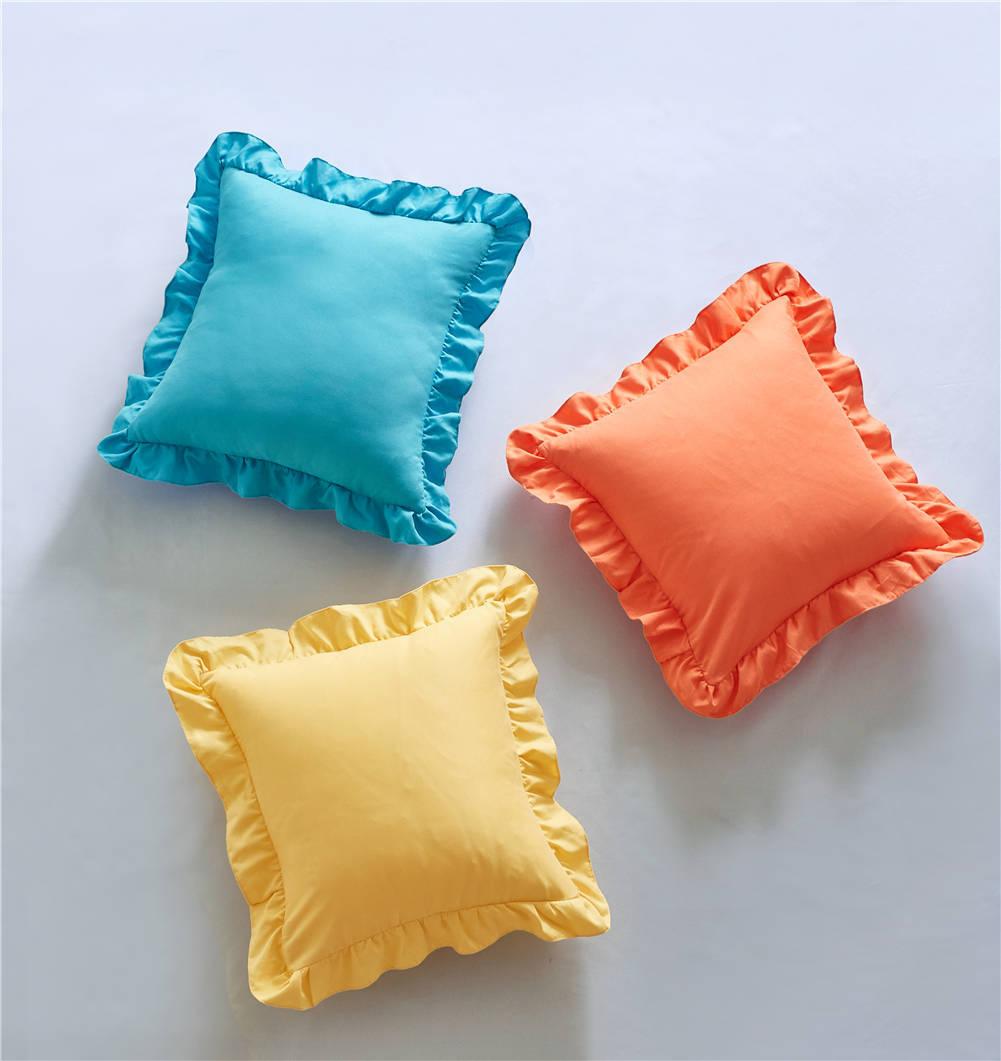Funda de almohada textil de cama de algodón sólido almohada con volados Sham Princess elegante funda de cojín de sofá europeo Protector 45*45cm