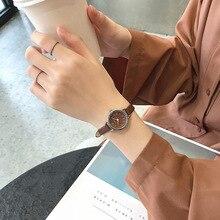 Élégant rétro femmes montres marron dames montre à Quartz 2019 mode décontracté Ulzzang marque petite femme en cuir horloge Roma numéro