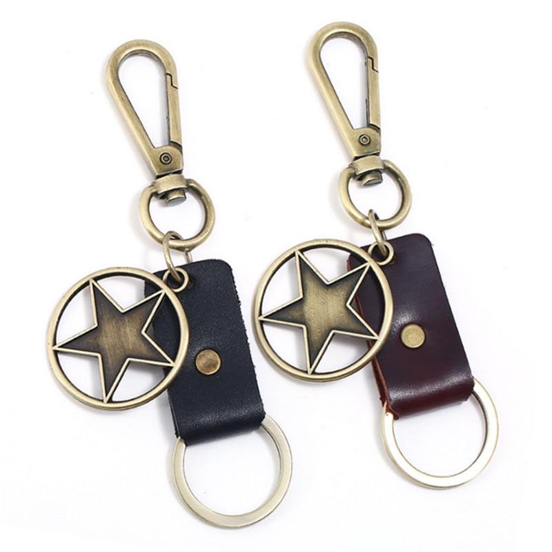 Accesorios de llaveros de moda cubierta de llavero colgante de estrella para hombres motocicleta Auto coche llavero mujeres monedero encanto llaveros