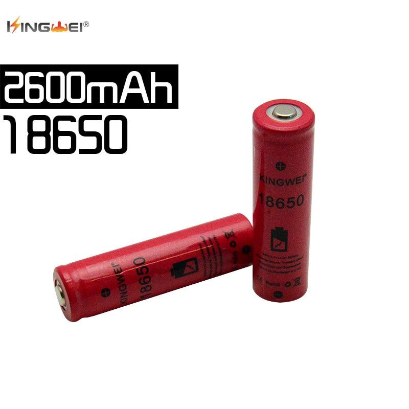 KingWei realmente capacidad 2600 mah batería recargable de cabeza plana neutra 3,7 v 18650 batería de iones de litio