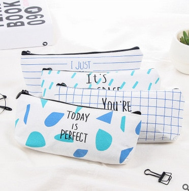 Cute Cartoon Letters Cosmetic Case Bag Women Ladies Canvas Kawaii Makeup Case Bag Organizer Portable