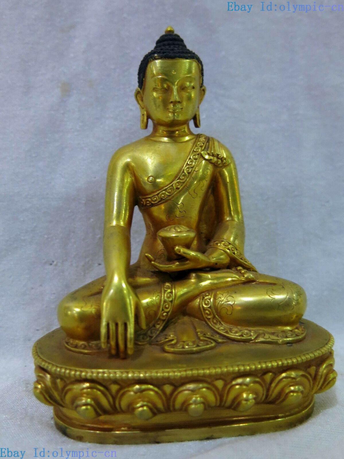 Tibet bronze 24 k ouro bela escultura budismo medicina buda estátua