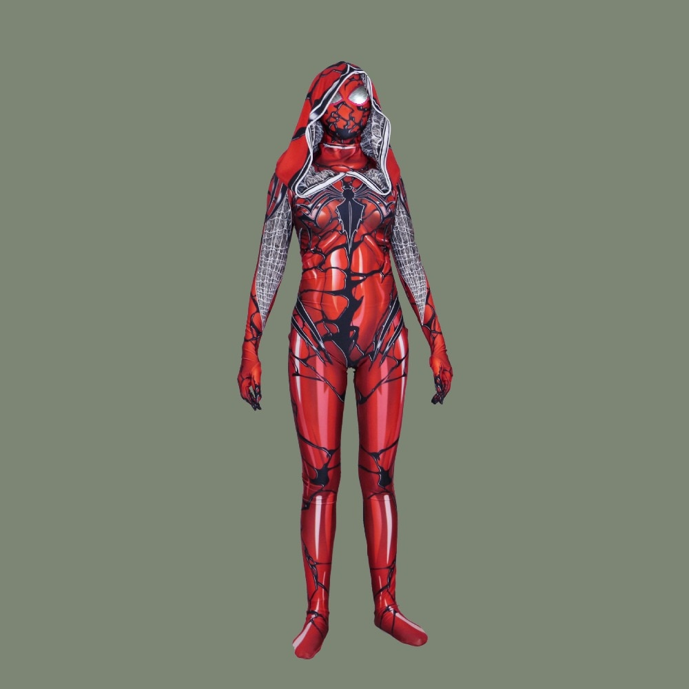 De Halloween rojo carnicería veneno hombre araña sangre escarlata Gwen Cosplay Spiderman disfraz Zentai traje de mono monos