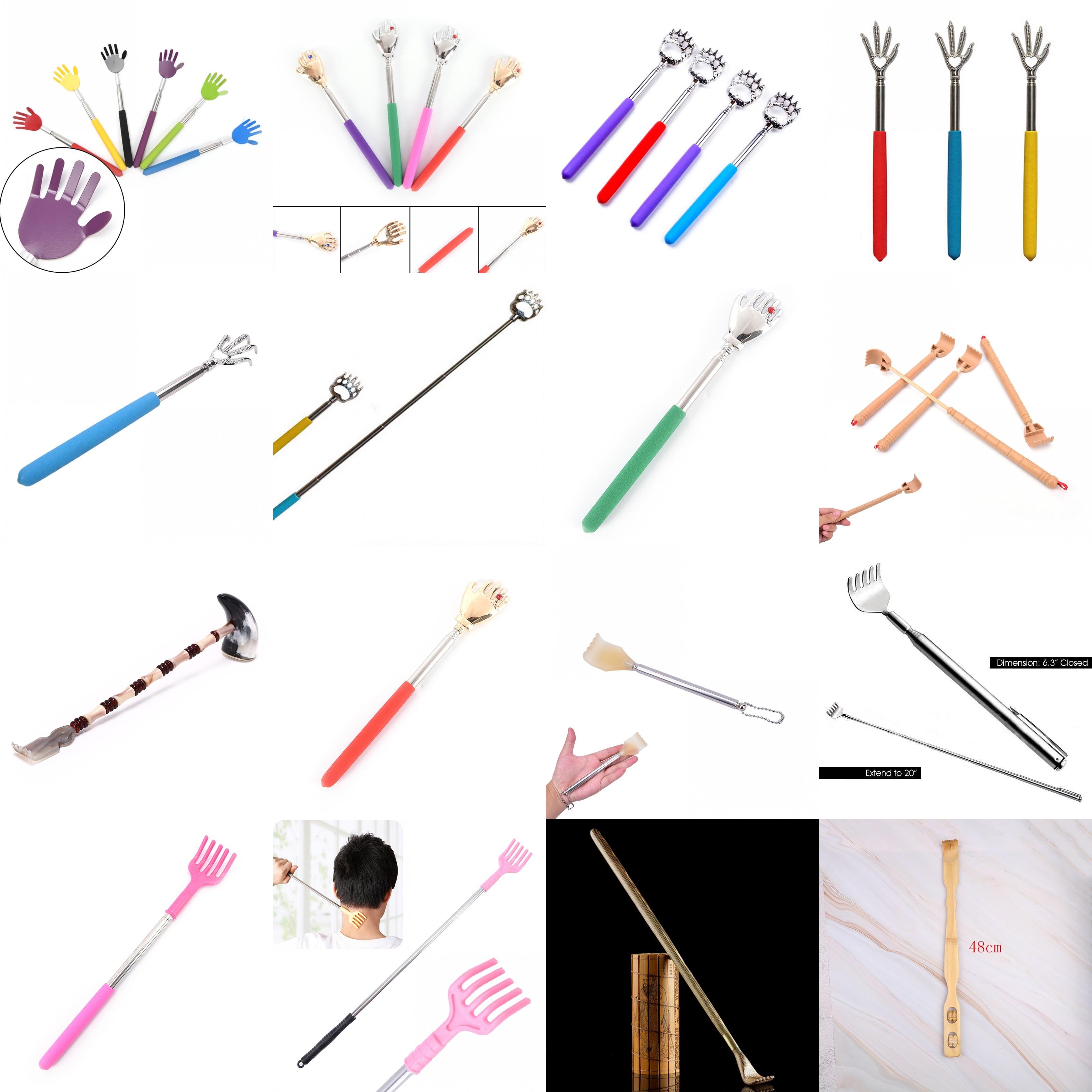 Práctico y práctico Clip de bolígrafo de acero inoxidable, rascador de espalda, Kit de masaje de arañazos telescópico, rascador de espalda, rascador, masajeador