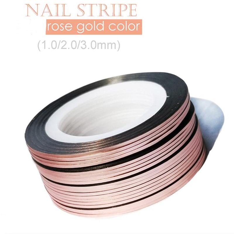 10Rolls 1Mm/2Mm/3Mm Glitter Striping Tape Rose Goud Zelfklevend Diy Nail art Tape Lijn Strips Striping Voor Uv Gel Polish NSL03